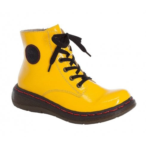 Rieker Y3200 Yellow Lace Up Ankle Boots