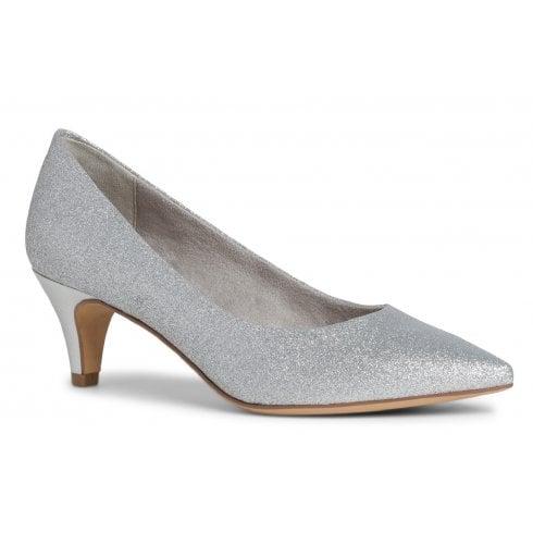 Tamaris Ladies Silver Glam Kitten Heel Court Shoes