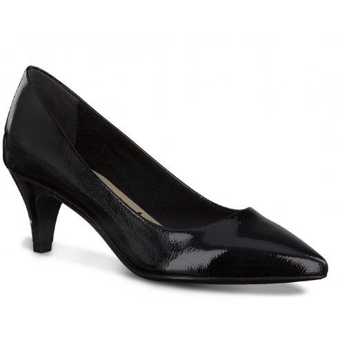 Tamaris Ladies Black Patent Pointed Court Shoes