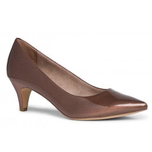 Tamaris Ladies Copper Patent Pointed Court Shoes