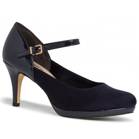 Tamaris Ladies Navy Court Shoes With Ankle Strap