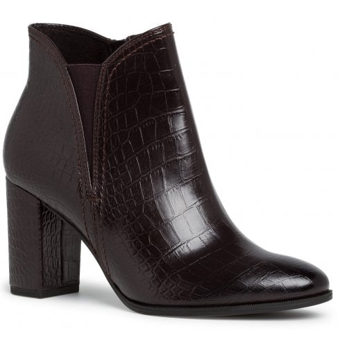 Tamaris Ladies Dark Mocha Croc Ankle Boots