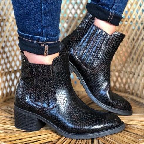Tamaris Ladies Mahogany Snake Ankle Boot