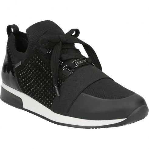 Ara Lisbon Black Diamante Waterproof Trainer