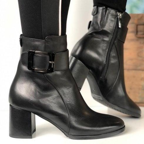 Tamaris Ladies Black Buckle Ankle Boots
