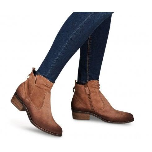 Tamaris Ladies Camel Suede Ankle Boots