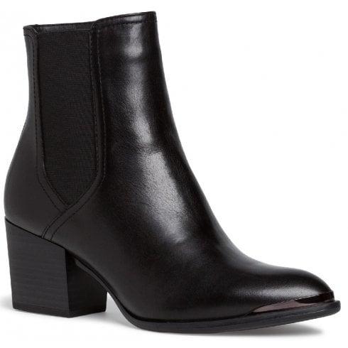 Tamaris Ladies Black Leather Ankle Boots