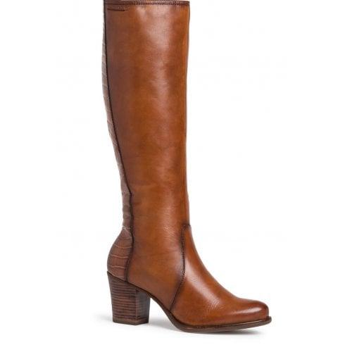 Tamaris Ladies Long Tan Leather Boots