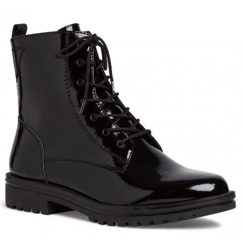 Black Patent Biker Boots