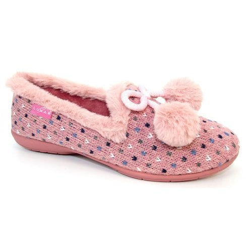 Lunar Alaska Ladies Pom Pom Pink Slipper
