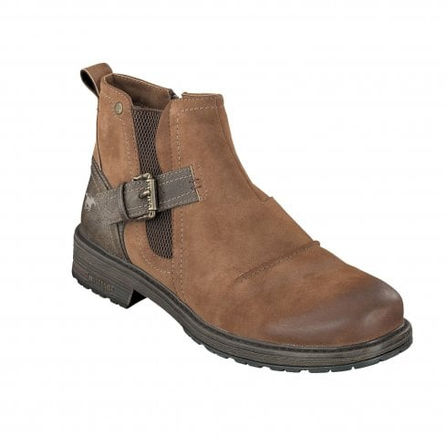 Mustang Mens Tan Nubuck Ankle Boot with Buckle over Gusset