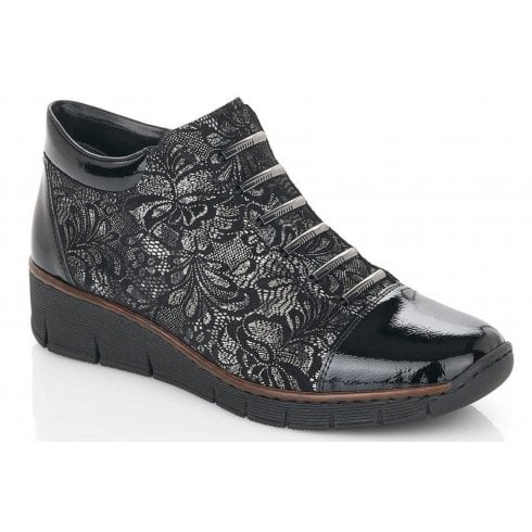 Rieker Ladies Grey and Lace Zip UP Ankle Boot
