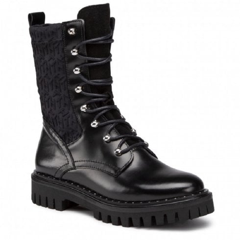 Tommy Hilfiger Monogram Lace Up Biker Boot