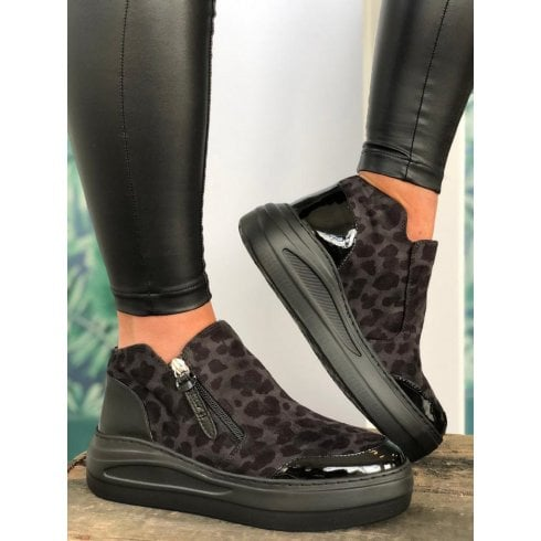 Unisa Fazzio Ladies Dark Grey Leopard Print Bootie Trainers