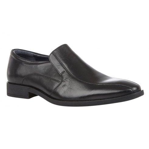 Lotus Mens Gerald Black Leather Slip On Loafers