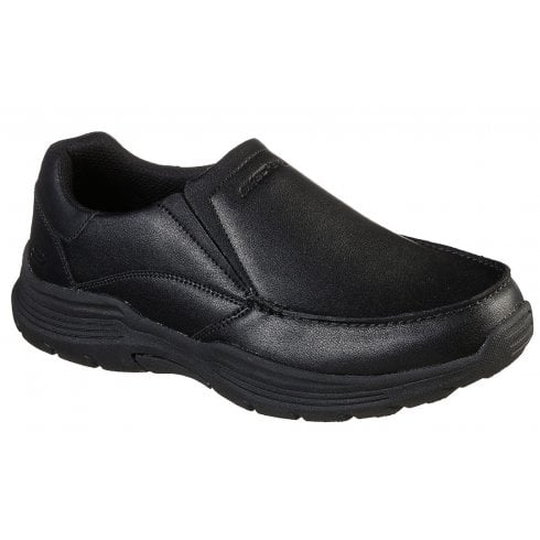 Skechers Mens Relaxed Fit Expended Helano Black Slip On Shoe