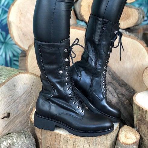 Nero Giardini Mid Calf Lace Up Boot - Black