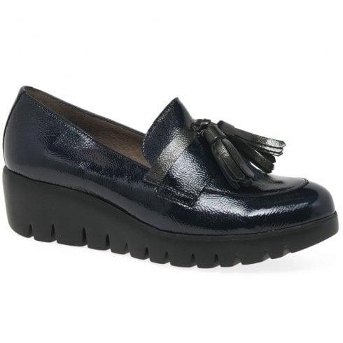 Wonders Navy Patent Wedge Shoe With Tassels