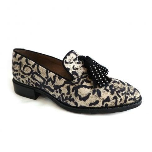 Wonders Taupe Leopard Tassel Front Shoe