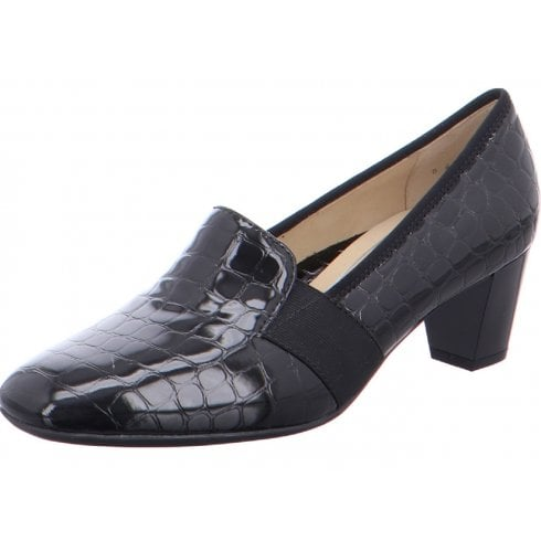Ara Ladies Verona Black Croc- Print Court Shoes
