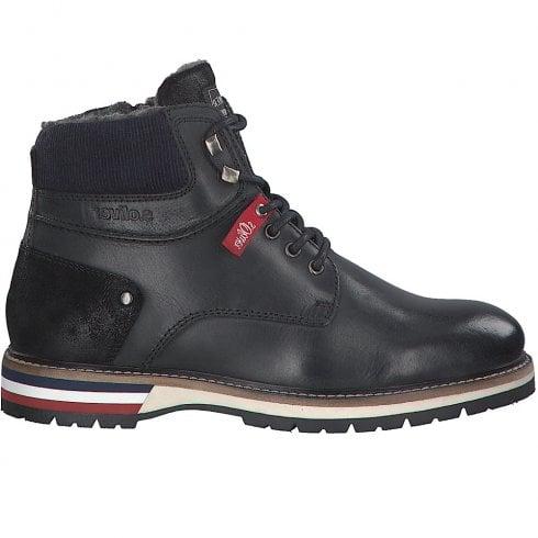 S Oliver S.Oliver Mens Black Leather Lace Up Boots