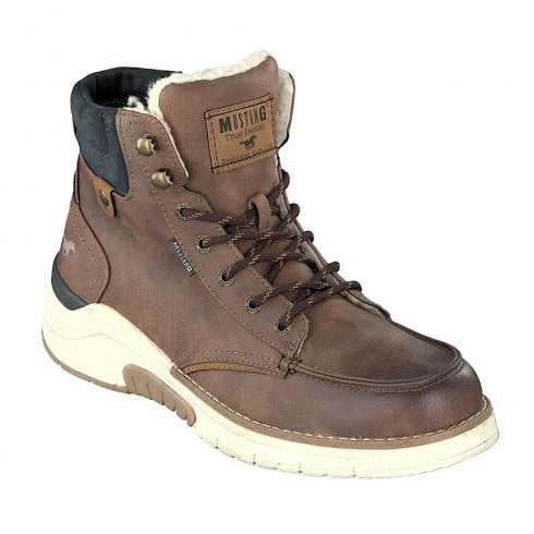 Mustang Mens Mid Brown Lace Up Fur Ankle Boots