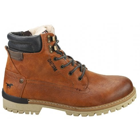 Mustang Mens Tan Lace & Zip Up Fur-lined Ankle Boots