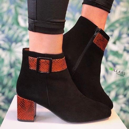 Daniela Ladies Black Suede Snake Buckle Zip Up Boots