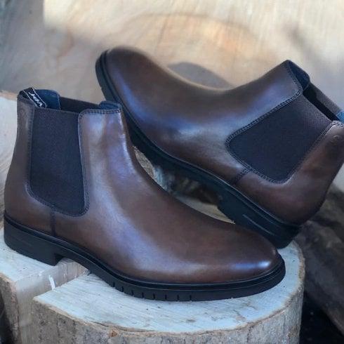 S Oliver S.Oliver Men's Cognac Slip On Chelsea Boots