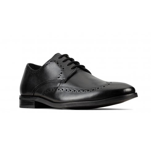 Clarks Mens Stanford Limit Lace Black Leather Smart Shoes