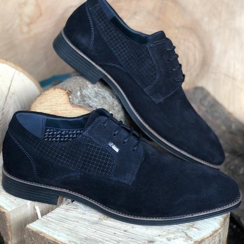 S Oliver S.Oliver Mens Suede Navy Laced Shoes