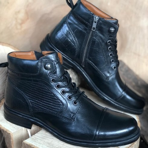 S Oliver S.Oliver Mens Black Leather Lace Up Ankle Boots