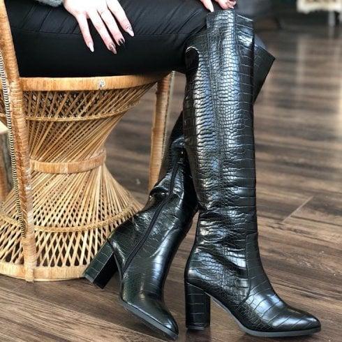 XTI Black Croc Long Heeled Boots