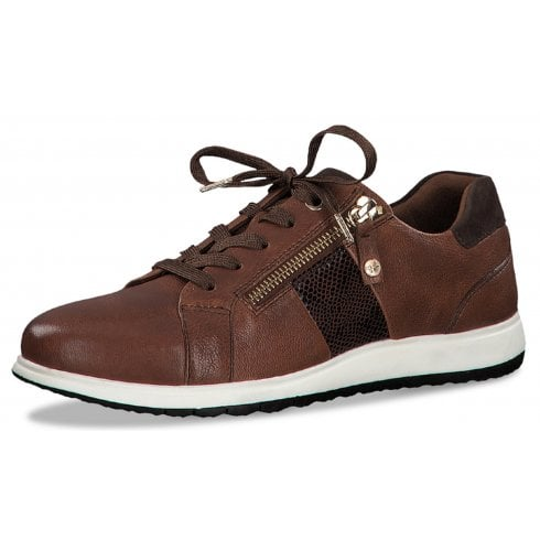Tamaris Leather Chestnut Lace Up Trainers