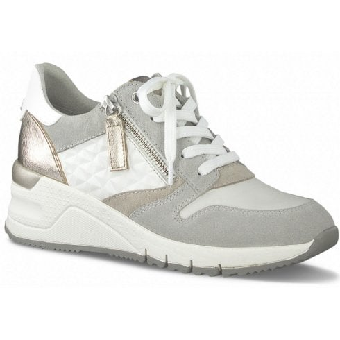 Tamaris Ladies White and Grey Wedged Trainers with Side Zip