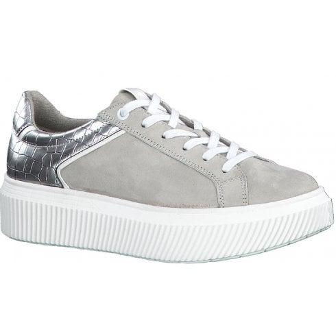 Tamaris Ladies Grey and Silver Croc Print Trainers