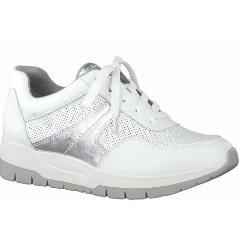 Tamaris Ladies White and Silver Wedged Trainers