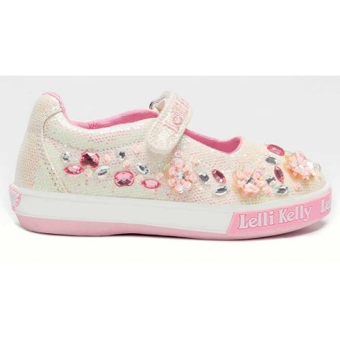 Lelli Kelly Girls Florence White Velcro Strap Shoes