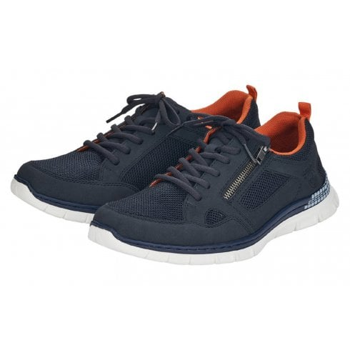 Rieker Mens Navy Lace-Up Walking Trainers