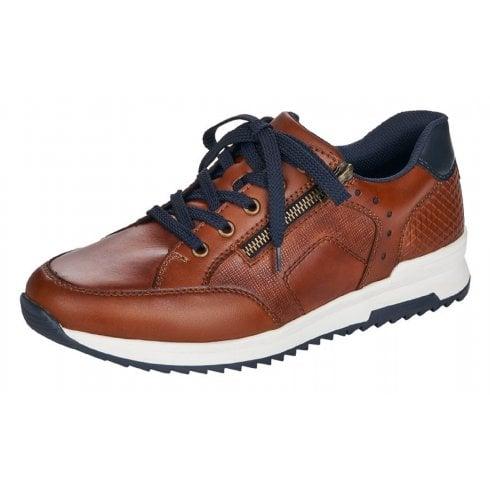 Rieker Mens Peanut Brown Leather Trainer