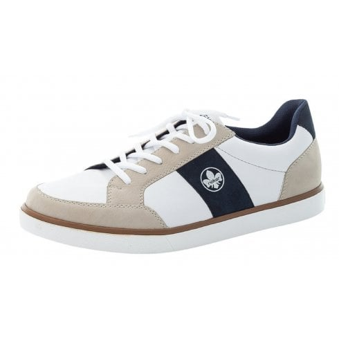 Rieker Mens White Beige and Navy Trainers