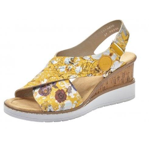 Rieker Ladies Yellow Flower Print Slingback Sandals