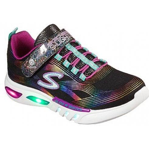 Skechers Girls Glow Brites Black Light Up Sole Trainers