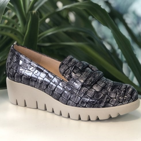 Wonders Wedge Loafer Shoes - Black Grey Croc