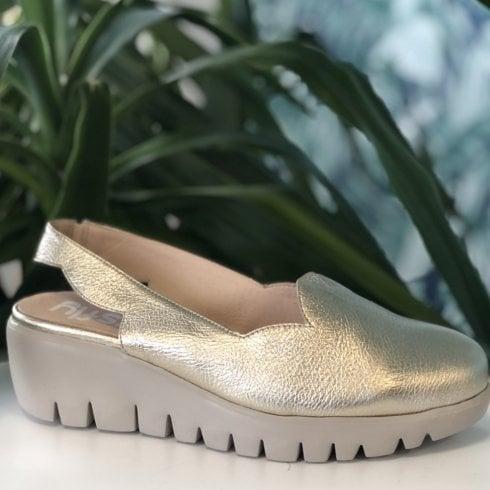 Wonders C33204 Gold Sling Back Wedged Shoes