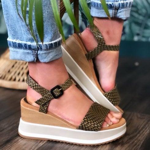 Unisa Kolla Snake Effect Wedge Sandals - Green
