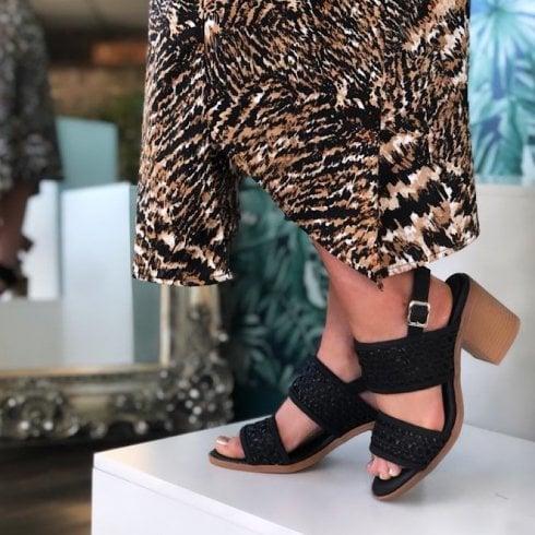XTI Ladies Black Woven Block Heel Sandal