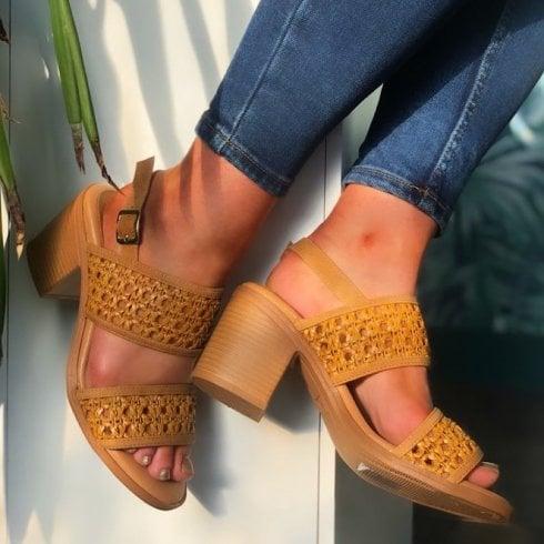 XTI Ladies Camel Woven Block Heel Sandal