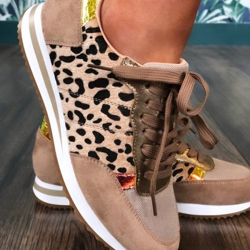 Redz Shoes Redz Ladies Beige/Leopard Trainers