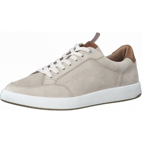 S Oliver Mens Taupe Leather Lace-Up Trainers